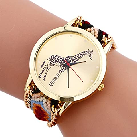 Mixe® Handmade Knitted Jewelry Watch Women Ladies Tribal Giraffe Watches Dress Decor (5# Coffee)