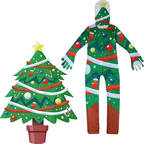 OOFAY Weihnachten Schneemann/Baum Mann/Baum / Weihnachtsmann Cosplay Kostüm Kinder Spiel Pyjamas Sets Für Kinder Weihnachten Halloween Kostüm Rollenspiele Cosplay Overalls Mit Maske,160 (Pyjama Spiel Kostüm)