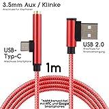 TheSmartGuard - 2 in 1 USB-C auf USB 2.0 Ladekabel und Klinke/Aux Kabel/Kopfhörerkabel Female kompatibel für Huawei, Xiaomi, LG und viele mehr (außer HTC/Google/Nokia/Apple) | Farbe: Rot | 1m