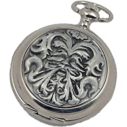 A E Williams 4817SK Greenman mens mechanical pocket watch with chain