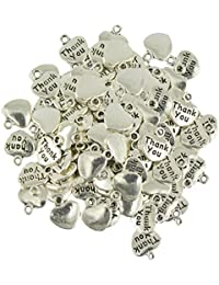 Segolike 100pcs Tibetan Silver Thank You Heart Charm Pendants Beads Jewelry Making