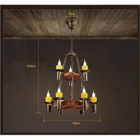 Modylee Retro salone bar in legno lampadario caffè abbigliamento creativo epoca lampadario candela di legno (Filigrana Pendente Di Montaggio)
