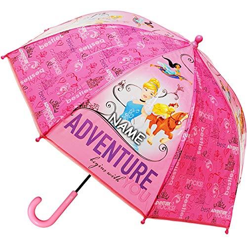 alles-meine.de GmbH Regenschirm / Kinderschirm -  Disney Princess - Prinzessin  - inkl. Name - Ø 73 cm - Kinder Stockschirm - für Mädchen - Folie Folienschirm - Schirm ()