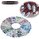 LXYQW Autocollant d'ongle 16 Pcs Coloré Marbre Brillant Pierre Rock Nail Art Feuille Autocollants Colle Transfert Magnifique Manucure Nail Art Décorations