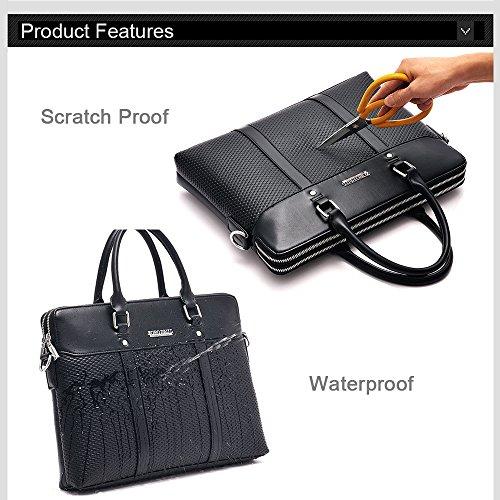 Regenbogen prägen dünne Aktenkoffer Mens Business PU Ledertasche Flapover Satchel Executive Law Aktenkoffer Handtasche mit Brieftasche Schwarz