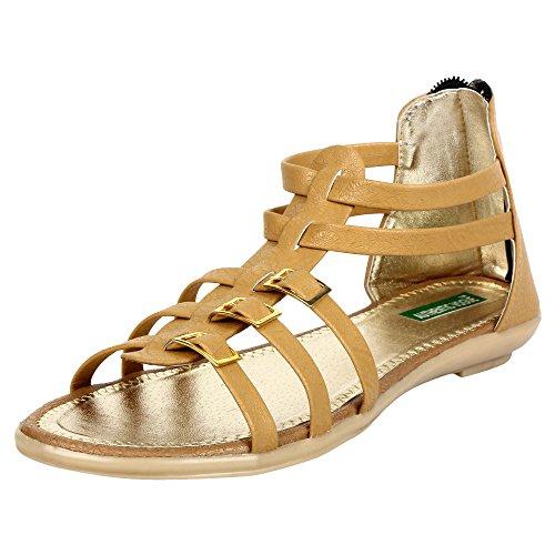 Authentic Vogue Women's Ankle Length Tan Colour Sandal_39 EU