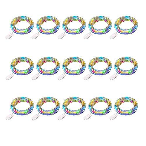 SiFar 15 Stück 2M 20 LEDs Mini Kupferlampe Multicolor Mit Batteriebetriebene LED Lichterketten, FlaschenLicht Lichterketten für Flasche DIY, Party, Dekor, Weihnachten (Lichterkette Multi-color)