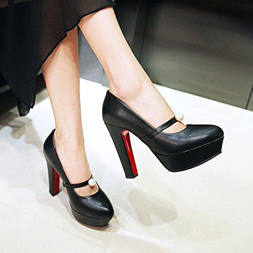 Damens Pumps High-Heel Stiletto Mary Jane Perlen mit Plateau Rutsch Schwarz aCerd232