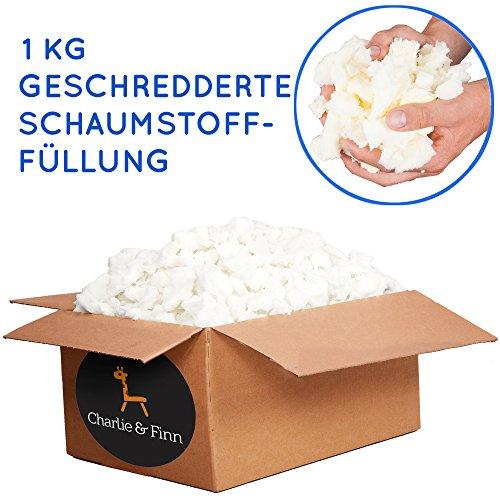 Charlie & Finn 1 kg Schaumstoffflocken Füllmaterial - Ideal zum Füllen von Sitzsäcken, Kissen, Hunde & Katzen Betten und Plüschtiere - Schaumstoff Flocken für Bean Bags Kissenfüllung & Teddyfüllung - Kinder-foam-bett