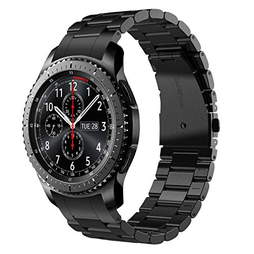 V-MORO Gear S3 Frontier/Gear S3 Classic Watch Armband, Galaxy Watch 46mm Armband,22mm (Metall schwarz) Solider Edelstahl Metall Ersatz Bracelet Strap Band Uhrenarmband für Samsung Gear S3 Fall Armband Clip