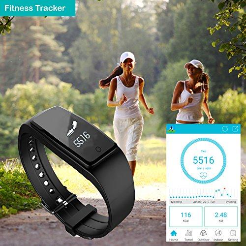 YAMAY® HR3 Fitness Tracker mit Pulsmesser Bluetooth Fitness Activität Tracker Schrittzähler Wasserdicht IP67 Armbanduhr mit Herzfrequenz / Schlafanalyse/Kalorienzähler/SMS SNS Wecker Vibration für Android und IOS Handys - 6