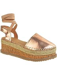 Fashion Thirsty heelberry Scarpe Basse da Donna Passanti Sandali Paillettes Comfort Scarpe estive Luccicante Misura UK - Nero Glitter, 41