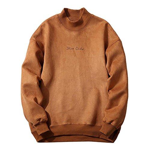 VENMO Herren Winter Fashion schlank gestaltetes Top strickjacke Mantel Sweatshirt kapuzenpullover sweatshirt mit kapuze streifenpullover outdoorjacken wollpullover rollkragenpullover (Khaki, M)