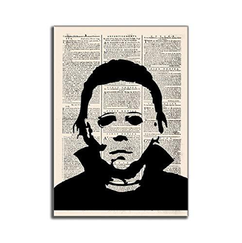 Periódico antiguo Estilo Arte de la pared Pintura en lienzo Scream Películas de terror Posters Impresiones de imágenes para la calabaza de Halloween Decoración de la pared del hogar 40X60Cm Sin marco
