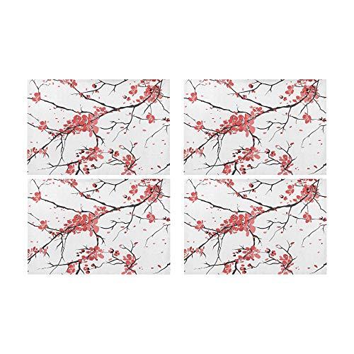 WOCNEMP Rechteck Tischsets Kirsche Sakura Nahtlose Muster Kleine Tischdekoration rutschfeste Fleckenbeständig Waschbar Tischset Tischset Küche 12x18 4 Stücke -