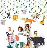Bdecoll 30 Stück Deko-Wirbel *Dschungel Jungle* für Kindergeburtstag oder Motto-Party / Geburtstag Kinderparty Party Decken-Deko Swirl Decorations
