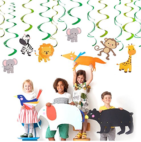 Sayala 30 STK.Hängedekoration -Dschungel Tiere Themen- Deckenhänger Spiral Girlanden Für Kinder Baby Dusche Geburtstag Party Kuchen Dekoration Supplies