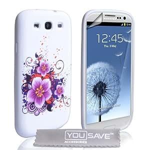 Samsung Galaxy S3 Tasche Silikon Blumen Hülle Lila