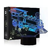 HeXie Weihnachtsgeschenk Magic Choochoo Zug Lampe 3D Illusion 7 Farben Touch-Schalter USB Einsatz LED-Licht Geburtstagsgeschenk und Party Dekoration