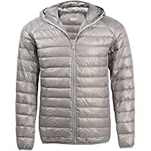 M2C da uomo, leggero piumino trapuntato giacca con cappuccio, Grau, S