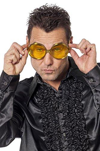 rille große runde Gläser Hippie Spassbrille Schlagerparty 4 Farben (gelb) (Horn Brille Kostüm)