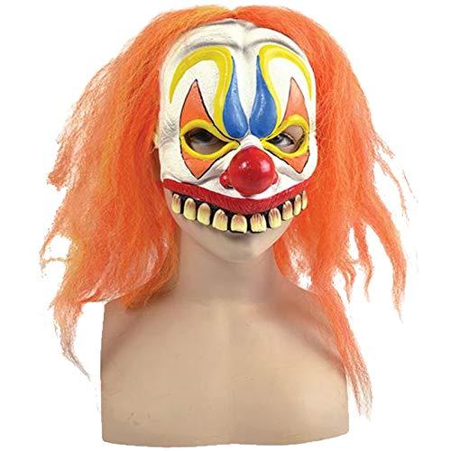 Maske böser Clown mit orange Haaren Clownsmaske Clownmaske für Kostüm Clownskostüm (Böse Clown Kostüm)