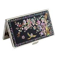 Antique Alive Mother of Pearl Oiseau Rose Prune Fleur Étui porte-cartes de crédit Business (B117)