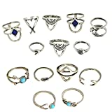 14Pcs Women Fashion Alloy Vintage Arrow Moon Turquoise Geometric Pattern Joint Knuckle Nail Midi Ring