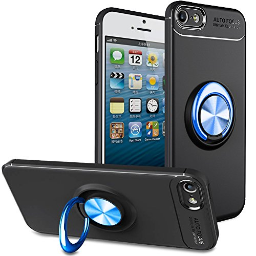 BtDuck iPhone SE Hülle mit Ring, Soft Ultra Slim Matt Dünn Silikon Hülle für iPhone SE/iPhone 5S mit Metall Ring Handyhalterung Auto Magnet Ständer Smartphone Halter Ständer Ringhalter Hülle
