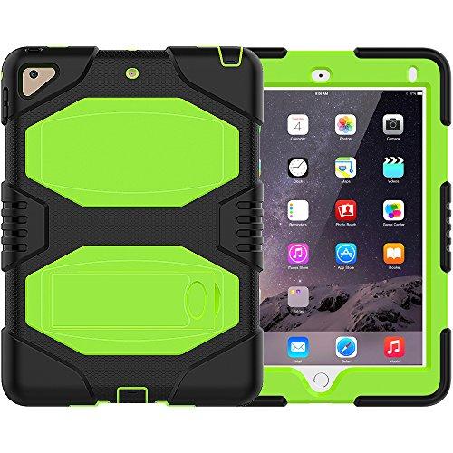 �Fall, zermu Heavy Duty stoßfest Rugged, Drei Schicht PC + Silikon Harte Hybride stoßfesten Armor Defender Full Body Schutzhülle mit Kickstand für iPad 6. Generation, Grün ()