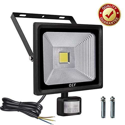 CLY Faretto con Sensore di Movimento 30W, Faro LED Esterno Super Luminoso Lampade LED Esterno con Sensore (Luce Equivalente HPS 75W), Impermeabile IP66 6000K 2700 Lumen
