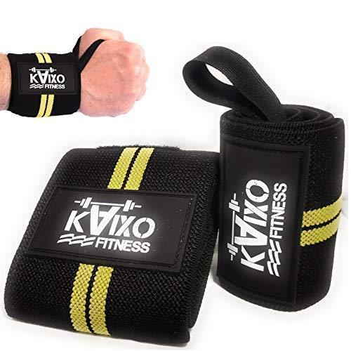 KAIXO Fitness Fasce Polso/Fasce Palestra/Polsiere Palestra/Sollevamento Pesi,Crossfit, Bodyduilding/Wrist Wraps/Uomo Donna/Tutore Infortuni Tendinite (Giallo)