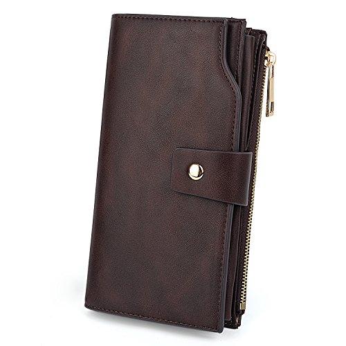 UTO Damen RFID Blocking große Kapazität Vegan Leder Clutch Wallet 21 Kartensteckplätze Halter Organizer Damen Veganrse mit Armband Kaffee -