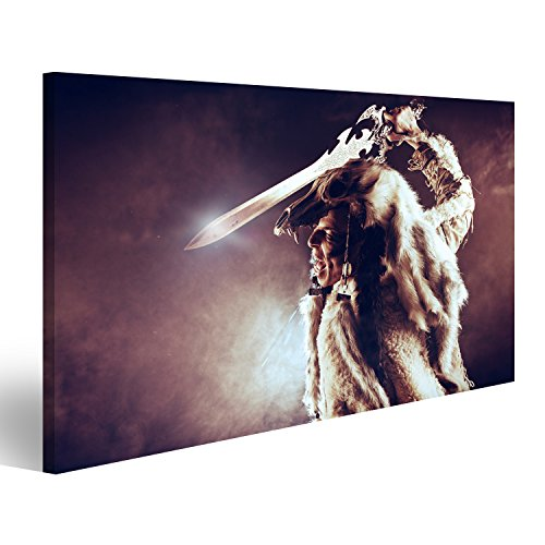 islandburner Bild Bilder auf Leinwand Alter Krieger Barbar. Ethnisches Kostüm Heidentum, Ritual. Wandbild Leinwandbild Poster ()