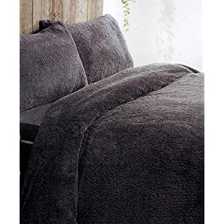 ARI Traders Teddy Fleece Luxurious Duvet Cover Sets Super Soft Warm and Cosy Bedding Sets (Charcoal-King)