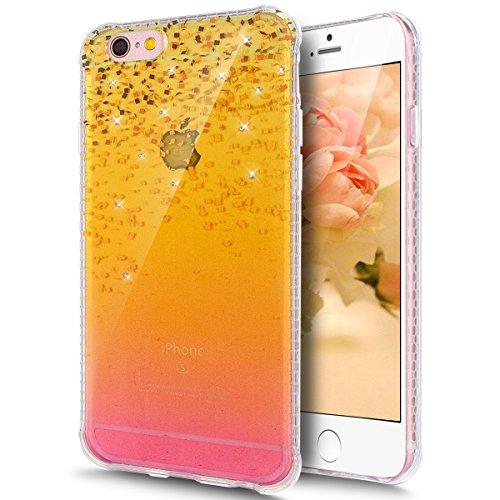 Coque iPhone 6S, Coque iPhone 6, Étui iPhone 6S, iPhone 6S/iPhone 6 Case, ikasus® iPhone 6S/iPhone 6 Couleur peinte avec Diamant brillant briller intérieur strass Coque Housse Doux TPU Silicone [Dégra Paillettes dorées