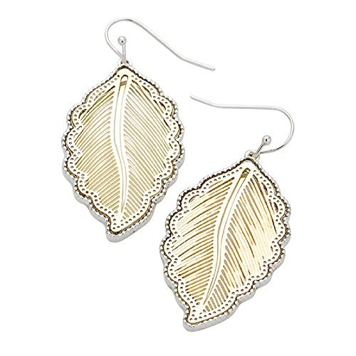 rosemarie-collezioni-da-donna-boho-chic-bicolore-decorativo-foglia-orecchini-argento-e-oro
