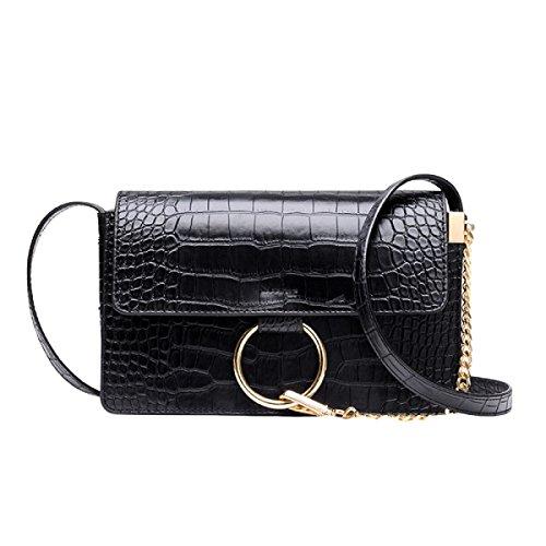 Handtaschen Mode Ring Schultertasche Messenger Bag Wilden Kleinen Paket Black