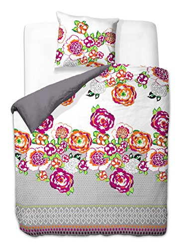 DecoKing 00120 155x220 cm Bettwäsche mit 1 Kissenbezug 80x80 Bettwäscheset Bettbezüge Microfaser Bettwäschegarnituren Reißverschluss Basic Collection Art Deco weiß graphit grau anthrazit stahl rosa amarant grün orange (Art-deco-bettwäsche)