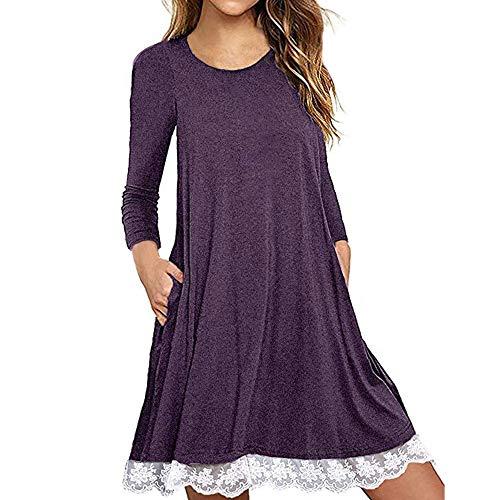 Zottom Spitzenkleid mit Hüfte Frauen Langarm Baumwollspitze T-Shirt Kleid mit Taschen - Firma Fit Strumpfhosen