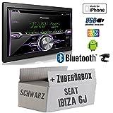 Seat Ibiza 6J 2DIN Schwarz - Radio Pioneer FH-X720BT USB Bluetooth CD Autoradio Android iPod/iPhone-Direktsteuerung - Einbauset