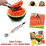 Bagonia Super Combo, Stainless Steel Multifunctional Dig Scoop With Fruit Carving Knife 2 In 1 Melon Baller & Watermelon Cutter, Corer Slicer Fruit