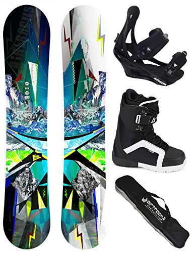 AIRTRACKS SNOWBOARD KOMPLETT SET / CROUD SNOWBOARD WIDE FLAT ROCKER + BINDUNG SAVAGE + BOOTS + SB BAG / 155 159 163 165 / cm