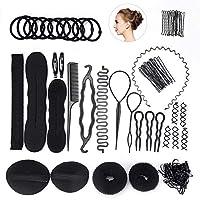 FEPITO Hair Styling Design Accessories Set Hair Modeling Tool Kit Spiral Hair Bun Maker Braid Tool for Girls Women Fashion Hair Design DIY