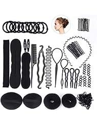 FEPITO Coiffure Design Accessoires Set Cheveux Modélisation Outil Kit Spirale Cheveux Bun Maker Braid Outil pour Filles Femmes Mode Cheveux Conception DIY
