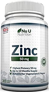 ZINC 50mg 365 Tablets (12 Month's Supply), 1 Easy to Swallow Zinc Gluconate Tablet Per Day by Nu U Nutrition by Nu U Nutrition