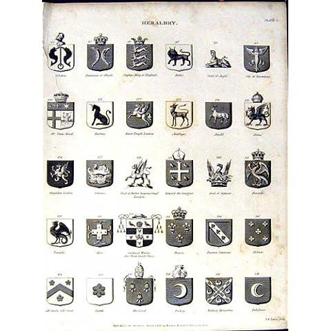 La Stampa Antica del Cappotto di Britannica C1832 dell'Enciclopedia dell'Araldica *1000 Arma Aston - Cappotto Britannico Di Armi
