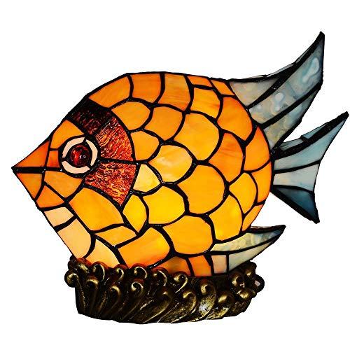 ZMALL 9 Zoll Fisch Tiffany Stil glasmalerei tischlampe, Tiffany Schlafzimmer nachttischlampe nachtlicht spaß kreative Geschenk handgefertigte Glas Lampe - Spaß-glas-tisch-lampe