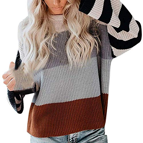 LILIGOD Frauen Strickten Sweatshirt O-Ansatz Gestreifte Farben Block Strickjacke Strickwaren Patchwork Pullover Oberseiten Casual Langarm Bluse T-Shirt Lose Warmes Sweater Outwear