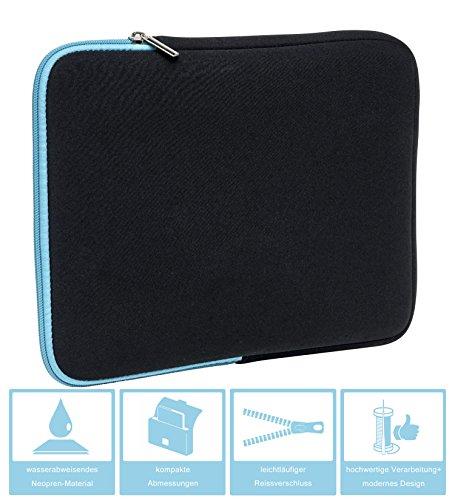 Slabo Tablet Tasche Schutzhülle für Medion Lifetab P10356 (MD 99632) Hülle Etui Case Phablet aus Neopren – TÜRKIS/SCHWARZ